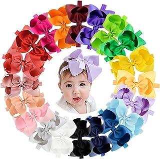 20 قطعة من ربطات الشعر للبنات الرضع، 15.24 سم، شريط مضلَّع، إكسسوارات لربطات الشعر للرضّع حديثي الولادة