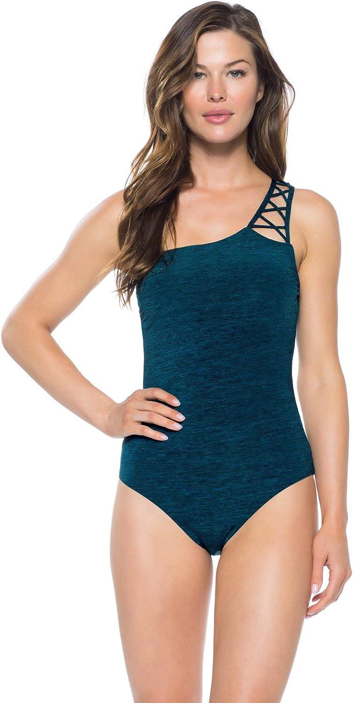 Becca by Rebecca Virtue Women's Mesa green Asymmetrical One Piece Swimsuit