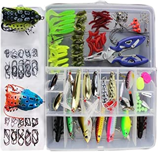 Fishinghappy 233Pcs 1 Set Trout Bass Salmon Fishing Tackle Hooks Jigs Worms Weights Lures Minnow Crankbait VIB Swimbait for Bass Pike Saltwater Freshwater