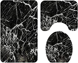TOPBATHY Juego de alfombras de baño de 3 Piezas con tapete de Pedestal de mármol Negro tapete de baño Antideslizante Tapa de Inodoro Tapa de Inodoro