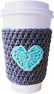 Reusable Cup Sleeve Coffee Cozy Grey with Mint Heart
