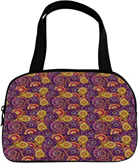 iPrint Increase Capacity Small Handbag Pink,Vintage,Traditional Paisley Motifs Pattern Oriental Design Flower Ornaments Curvy Antique,Multicolor,for Girls,3D Print Design.6.3