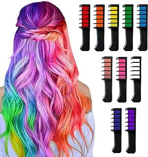 Hair Chalk for Girls Kids Temporary Bright Hair Color,Hair Chalk Comb Washable Non-Toxic Hair Dye Halloween Christmas Birt...