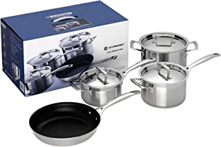 Le Creuset 3-Ply Stainless Steel Cookware Set, 4 Pieces