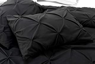 Black Pinch Pleated Pintuck Pillow Shams Set of 2 - Luxury 600 Thread Count Natural Cotton Decorative Pillow Cover Pintuck European Pillow Sham (Standard 20''X26'', Black Solid)