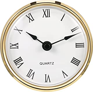 Hicarer 3-1/8 Inch (80 mm) Quartz Clock Fit-up/Insert with Roman Numeral, Quartz Movement (Gold Rim)