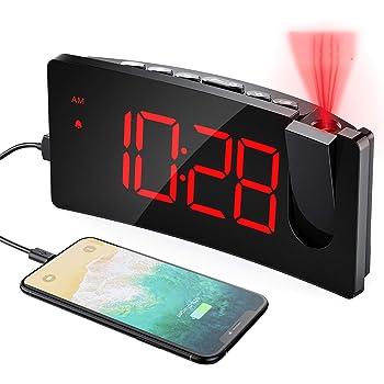 """Mpow Wecker Digital, Projektionswecker mit USB-Anschluss, Große 5"""" LED Bildschirm, 4 einstellbare Helligkeiten, Ultraklare Rote Ziffern, Einfach zu bedienen, Snooze, Randlos Kurve (Inkl.Adapter)"""