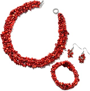 Handmade Coastal Chip Beads Statement Bracelet Dangle Drop Earrings Toggle Clasp Necklace Jewelry set for Women 18