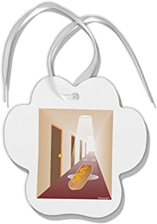 TOOLOUD Hotdog in a Hallway Paw Print Shaped Christmas Ornament