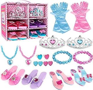 بوتیک Princess Dress Up Shoes and Jewelry - 4 جفت کفش بازی و تظاهر به اسباب بازی های طلا و جواهر لوازم جانبی Princess لوازم هدیه بازی برای کودکان نوپا دختران کوچک 2،3،4،5،6 سال