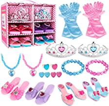 Meland Princess Dress Up Shoes and Jewelry Boutique - 4 Pairs of Play Shoes and Pretend Jewelry Toys Princess Accessories ...