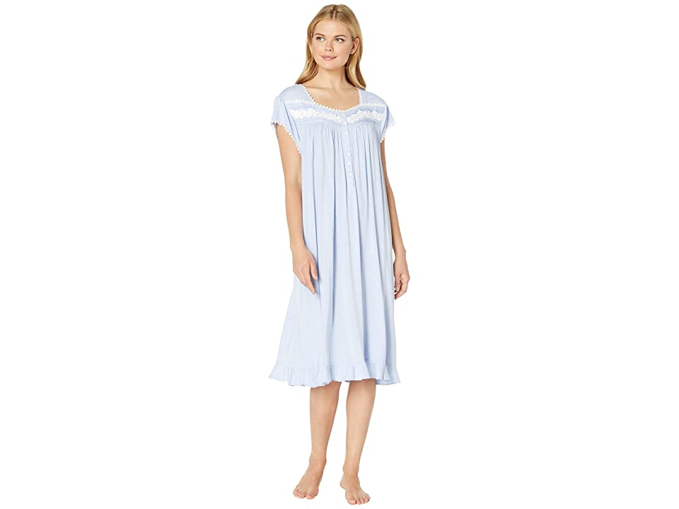 Eileen West Plus Size Modal Spandex Waltz Nightgown (Light Perri Dot) Women