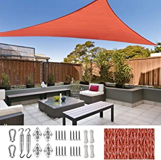 SUNDUXY Rojo Toldo Vela de Sombra Triangular, protección Rayos UV ...