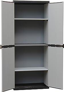 comprar comparacion Adventa - Armario de resina con estantes de 2 puertas (interior/exterior), gris negro, 68 x 39,5 x 168 cm