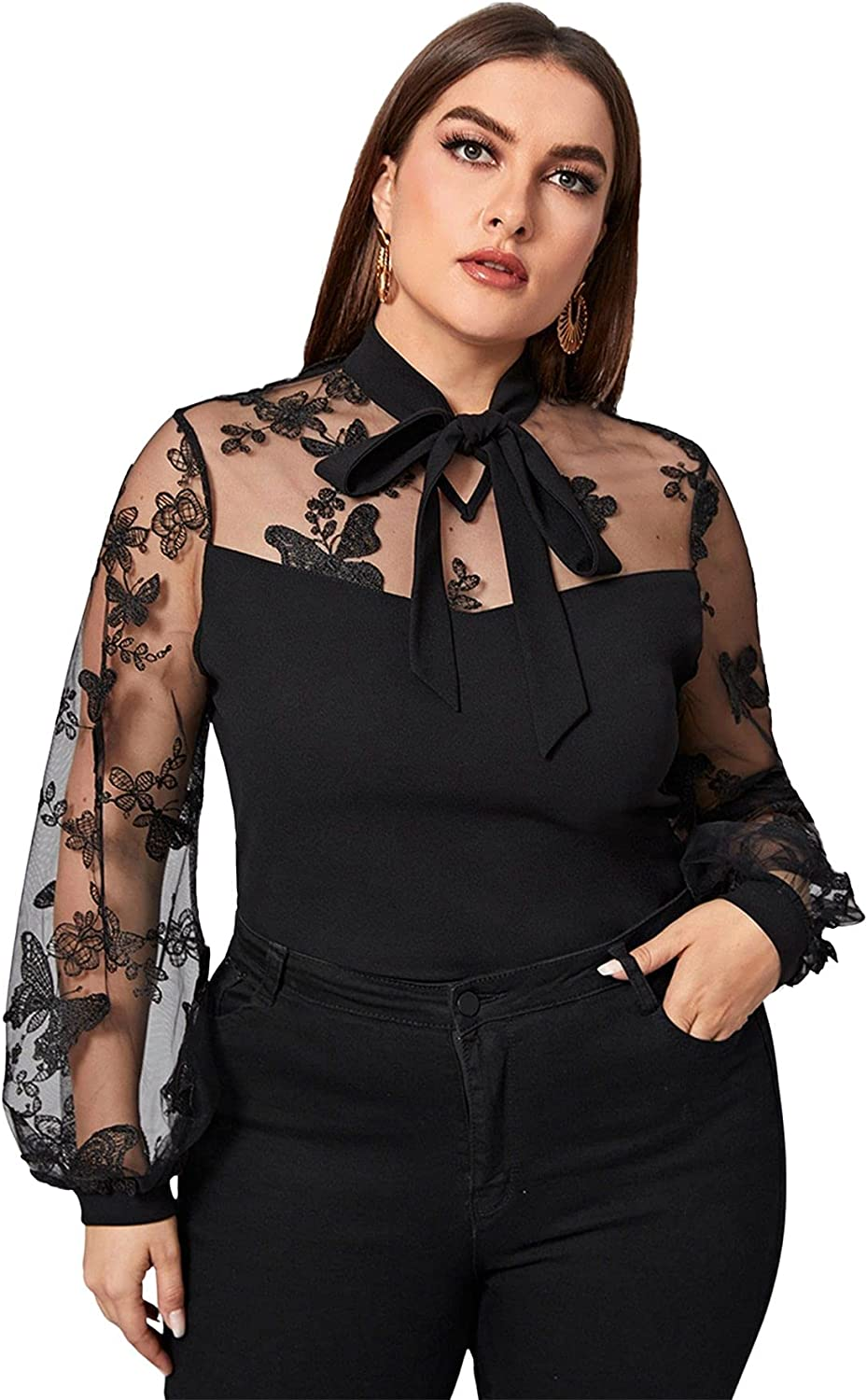 SheIn Women's Plus Embroidered Sheer Mesh Tie Neck Blouse Bishop Long Sleeve Top