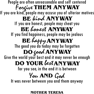 Mother Teresa Quotes Inspirational Wall Decals Vinyl Wall Art: A Wall Decal Inspiring Quotes - Famous Quotes Wall Decor - Wall Art Stickers Quote Decals - Best Removable Wall Decals -Black