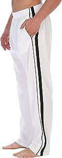 Mens Track Running Sport Athletic Pants, Elastic Waist, Zip Bottom