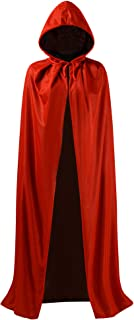 OurLore Black and Red Reversible Halloween Christmas Cloak Masquerade Party Cape Costume (35 inch, with Hood)