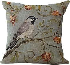 ChezMax Cotton Linen Cushion Cover Birds on Flowers Pattern Square Decor Pillow Sham Decorative Throw Pillow Case 18 X 18