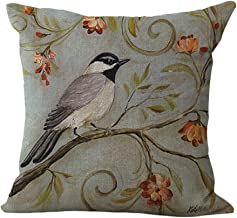 ChezMax Cotton Linen Cushion Cover Birds on Flowers Pattern Square Decor Pillow Sham Decorative Throw Pillow Case 18 X 18