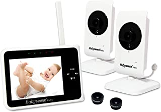 Babysense Video Baby Monitor 3.5 Inch Screen with 2 Cameras - Interchangeable Wide Angle Lens, Night Vision, Talk Back, Ro...