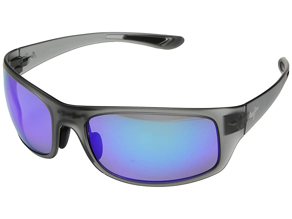 Maui Jim Big Wave (Translucent Matte Grey/Blue Hawaii) Athletic Performance Sport Sunglasses