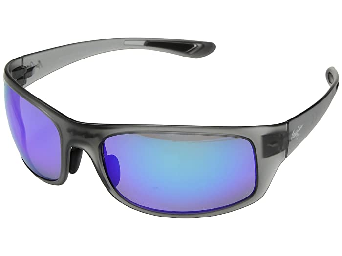 Big Wave (Translucent Matte Grey/Blue Hawaii) Athletic Performance Sport Sunglasses