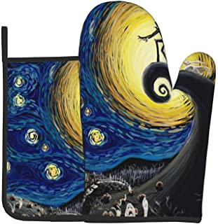Horror Starry Night Oven Mitts and Pot Holders Set Heat Resistant Kitchen Oven Glove and Hot Pads with Non-Slip Cotton Lin...