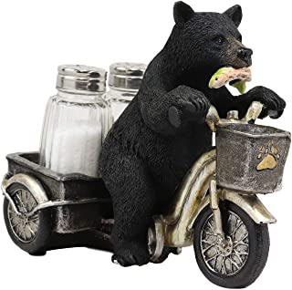 Ebros Whimsical Spice Rush Delivery Express Black Bear Biting Fish And Riding Tricycle Cart With Glass Salt And Pepper Shakers Holder Figurine Bears On Trikes Bicycle Decorative Statue