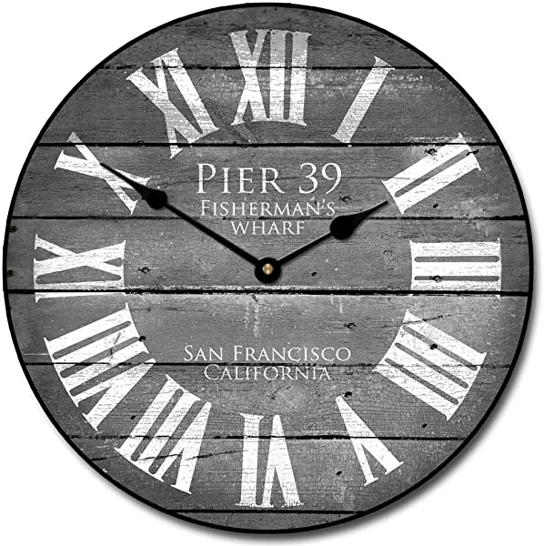 Pier 39 Gray Wall Clock Available In 8 Sizes Most Sizes Ship 2 3 Days