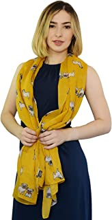 SEW ELEGANT NEW Ladies Women Adorable Pug Dog Curled Tail Print Scarf