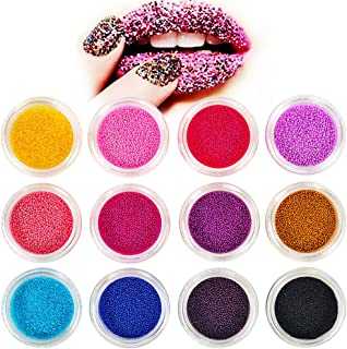 12 Colores Nails Festival Glitter Face Body Hair Decoration, 3D Cavair Beads Nail Art Chunky Glitter Powder, Stone Rhinestones, Lentejuelas Nail Salon Equipos para Navidad, Halloween DIY Craft Mermaid Unicorn Designs