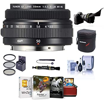 Fujifilm FUJINON GF 50mm F/3.5 R LM WR Lens for GFX Medium Format System - Bundle with 62mm Filter Kit, Lens Case, Flex Lens Shade, Cleaning Kit, Capleash, LenPen Lens Cleaner, Mac Software Package