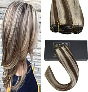 Sunny 14inch 7A Quality Sew in Hair Extensions Human Hair Piano Color Dark Brown with Bleach Blonde Brazilian Hair Bundles One Bundle 100G Weight