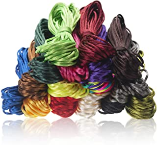 2.0mm Satin Nylon Trim Cord Rattail Silk Cord for Jewelry Making, 16 Colors 175 Yards Total Chinese Knotting Cord, Nylon B...