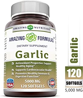 Amazing Nutrition Amazing Formulas Garlic Supplement – 5000 mg, Equivalent to 5,000 mg of Fresh Garlic Bulb per softgel – 120 softgels per Bottle – Antioxidant Properties