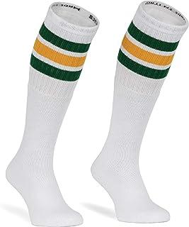 Calcetines de tubo americano (25 pulgadas, diseño a rayas), color blanco, verde y amarillo