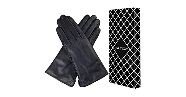 Womens winter sheepskin gloves full hand touch screen texting warm driving locomotive leather gloves 100/% cashmere lining