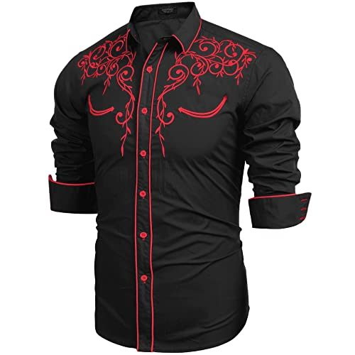 588b8b85 Modefine Men's Casual Fashion Long Sleeve Embroidery Slim Fit Dress Shirt  Button Downl Shirt