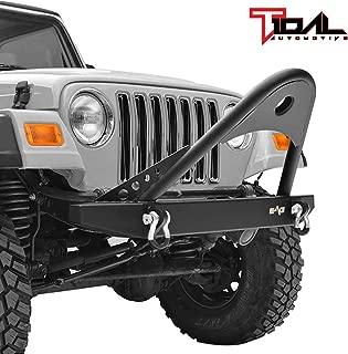 Tidal Black Textured Stinger Front Bumper with D-Ring Fit for 87-06 Jeep Wrangler TJ YJ