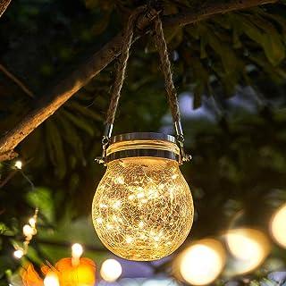 Qomolo Lanterna Solare LED Lampade da Esterno Solare Luci Solari Giardino Decor Outdoor Luci Solari per Giardino Patio Fes...