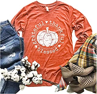 Beopjesk Women's Fall Pumpkin Halloween T-Shirt Casual Long Sleeve Grateful Thankful Blessed Thanksgiving Graphic Tees Tops