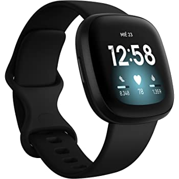 Fitbit Versa 3 - Smartwatch de salud y forma física con GPS integrado, análisis continuo de la frecuencia cardiaca, Alexa integrada y batería de +6 días, Negro