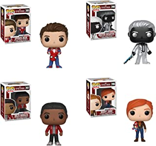 Funko Pop! Games: Marvel's Spider-Man Set of 4: Unmasked Spider-Man, Mister Negative, Miles Morales and Mary Jane w/Plush