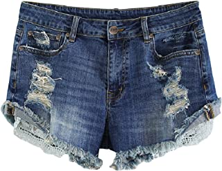 MSSHE Women's Plus Size Destroyed Ripped Hole Washed Short Jeans Pants Denim Shorts
