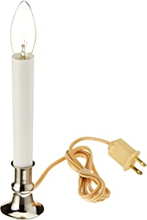 Darice 6203-08 Silver Plated Base Candle Lamp with automatic light sensor , 9 inch