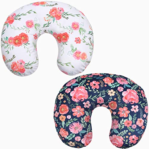 BORITAR Minky Nursing Pillow Covers 2 Pack, Super Soft Breastfeeding Pillow Slipcover with Pink Floral Multicolor Flo...