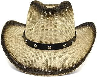 LiWen Zheng 100% Natural Straw Cowboy Hat Women Men Cowgirl Hats With Punk Belt Summer Western Sombrero Hombre Lifeguard Hats