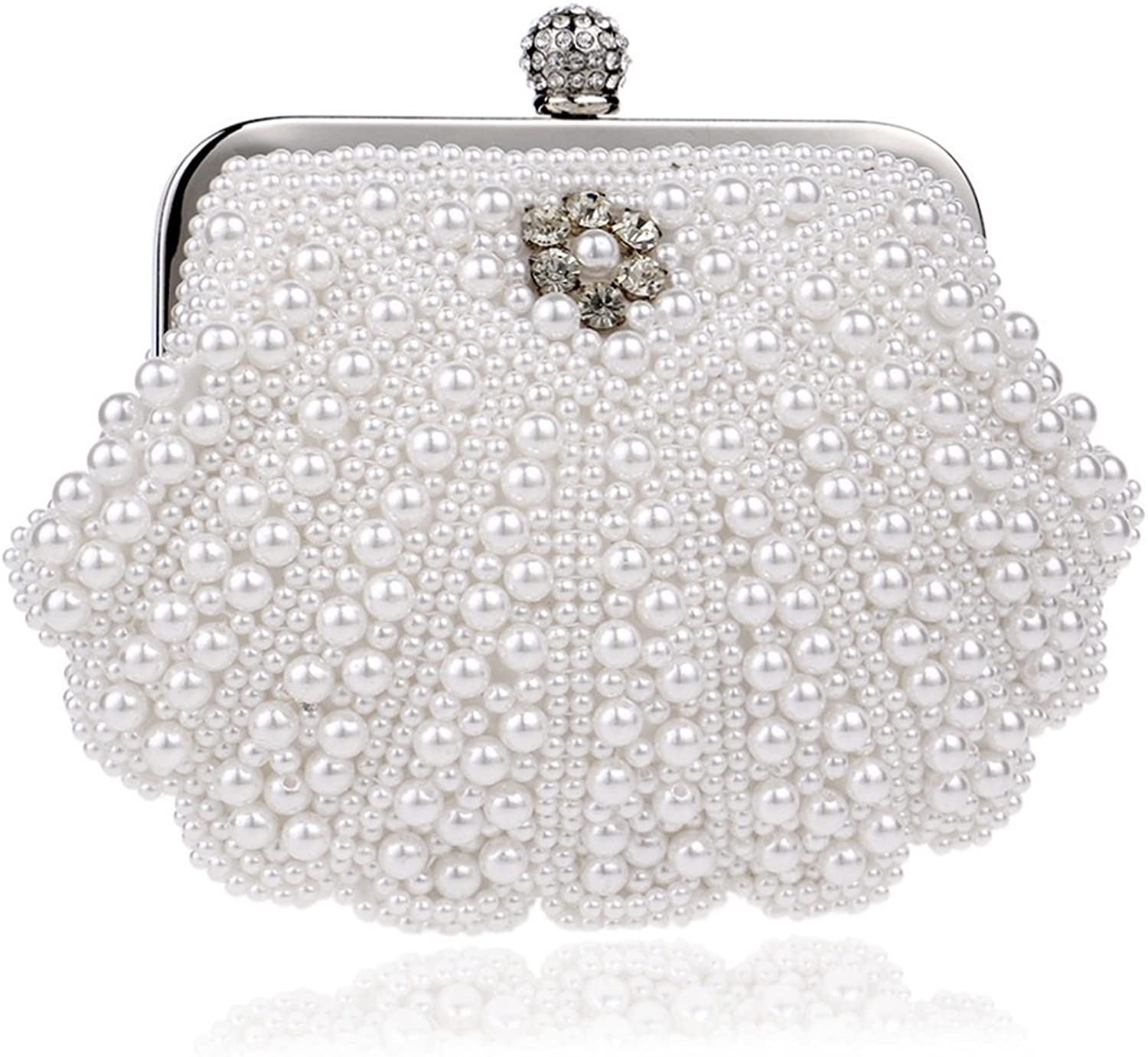 Ladies Handbag Beaded Shell Dinner Package Teenage Party Dress Evening Bag (color   Pure White)