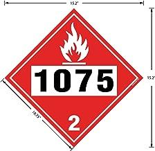DOT Flammable Gas Decal, Class 2 UN# 1075, 10.75